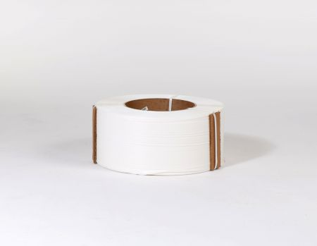 "3/8"" x 12,900` .024 300# 9 x 8 White Machine Grade Poly Strapping"