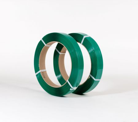 "FINAL SALE: 5/8"" x 1,800` .030 1100# 16 x 3 Smooth Green Polyester Strapping (2 coils/cs)"