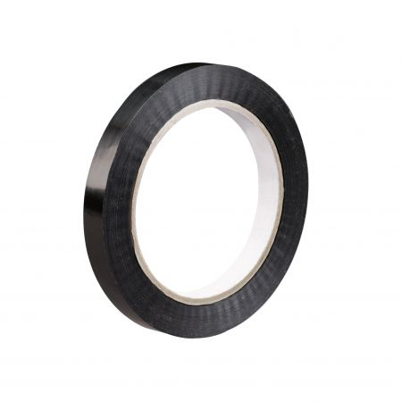 "3/4"" x 60 yds. 2.7 mil Black 94 lbs. Tensile Strength Tensilized Polypropylene Strapping Tape (96 case)"